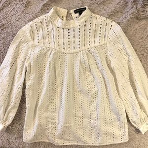 Banana Republic White Cotton Eyelet Blouse